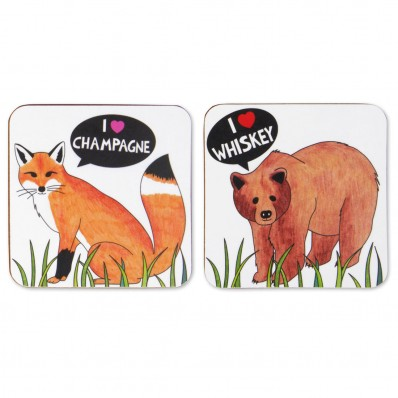 I Love Whiskey and Champagne Coaster Set