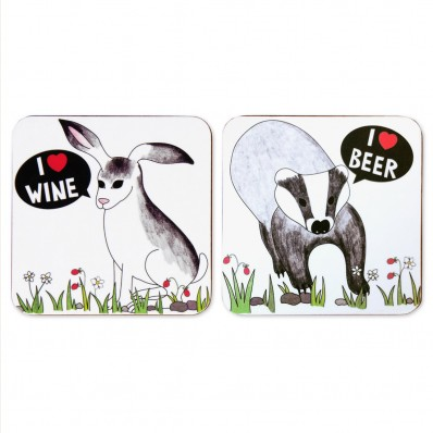 I Love Beer and Wine Coaster Set