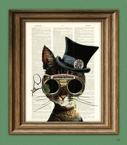 Clockwork Kitty Steampunk Cat illustration