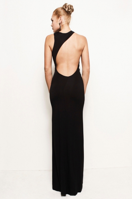 Grecian Backless Asymmetric Jersey Maxi Dress