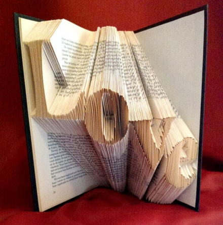 Folded Book Art – LOVE Diagonal
