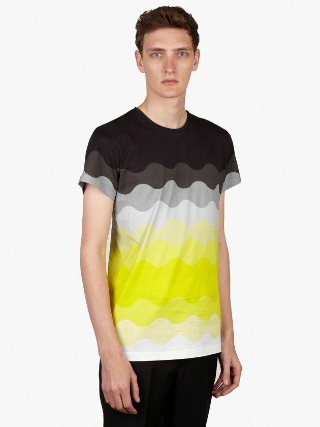 MEN'S YELLOW TREVOR OMBRE WAVE PRINT COTTON T-SHIRT