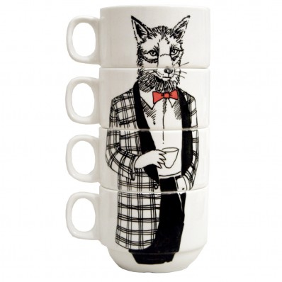 'Mr Fox' coffee cup set
