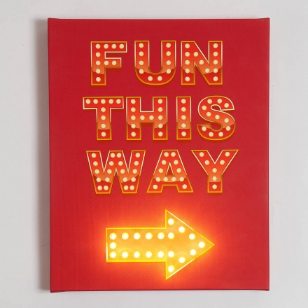 'Fun This Way' Illuminated Sign