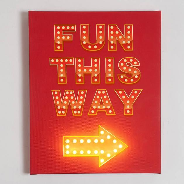 'Fun This Way' Illuminated Sign