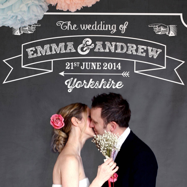Personalised Chalkboard Wedding Backdrop