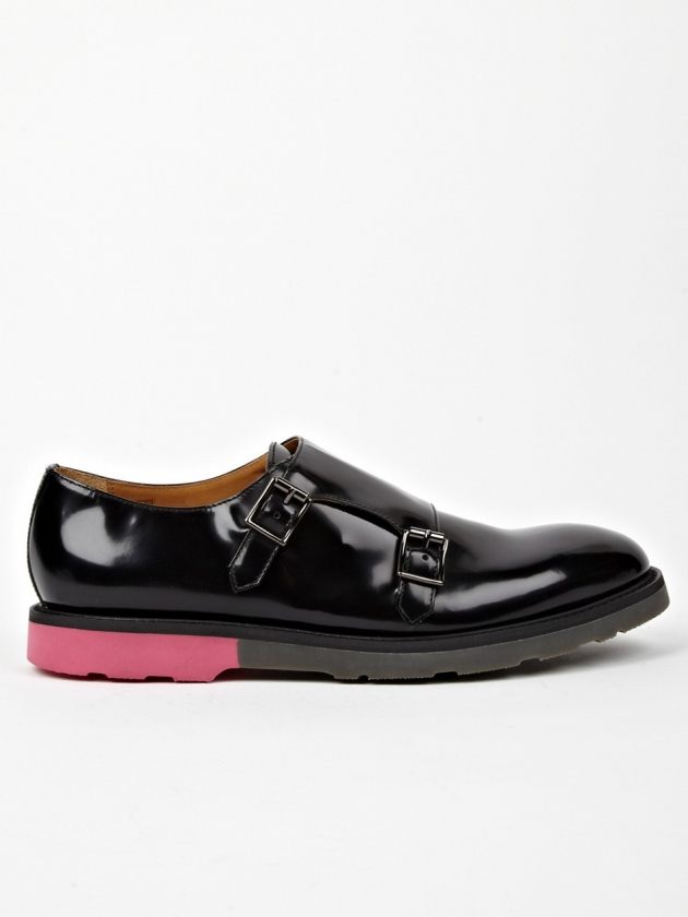 PAUL SMITH BLACK PITT LEATHER MONK STRAP SHOES