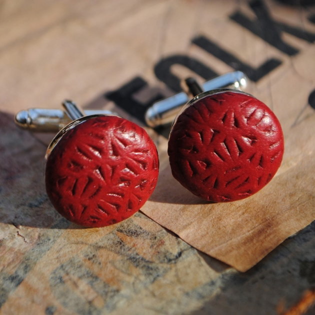Red Laser Cut Leather Cufflinks