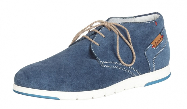 Ankle-high calfskin suede lace-ups