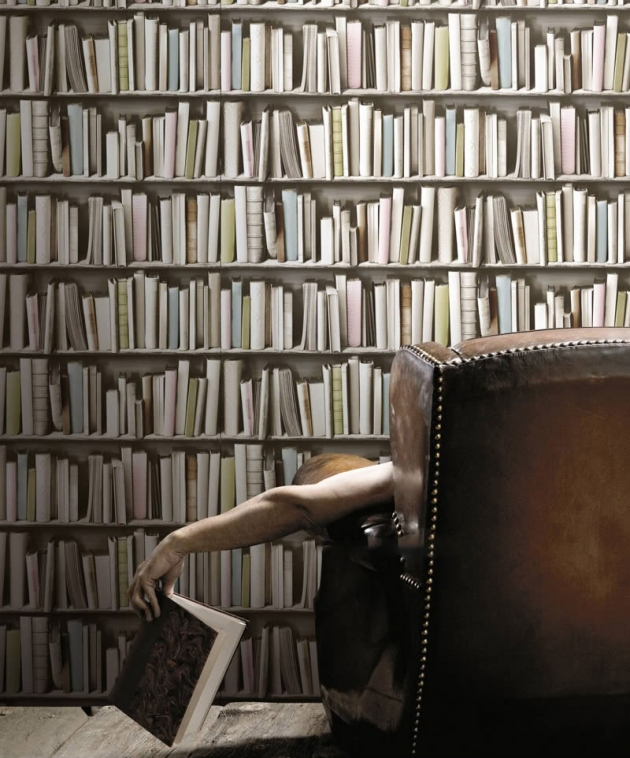 Vintage Bookshelf Pastel Wallpaper