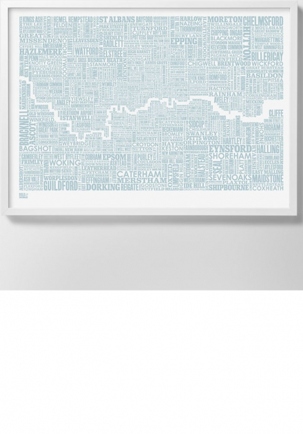 Type map print – London and Beyond, Duck Egg blue