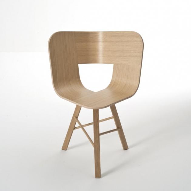 Tria Wood chair – Black & Ivory – 3 Legs