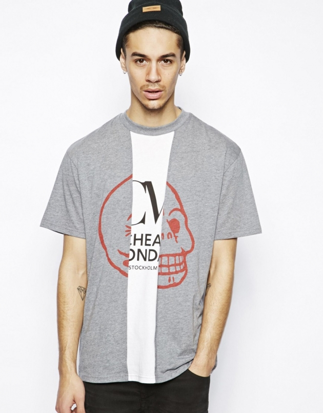 Cheap Monday T-Shirt with Skull Logo