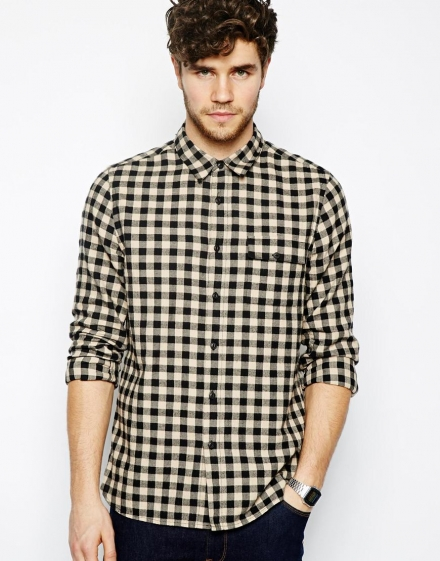 Check Shirt With Ecru And Black Gingham