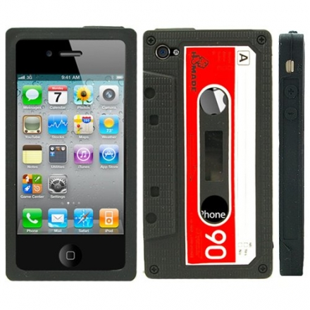 Black Retro Cassette Silicone Case For iPhone