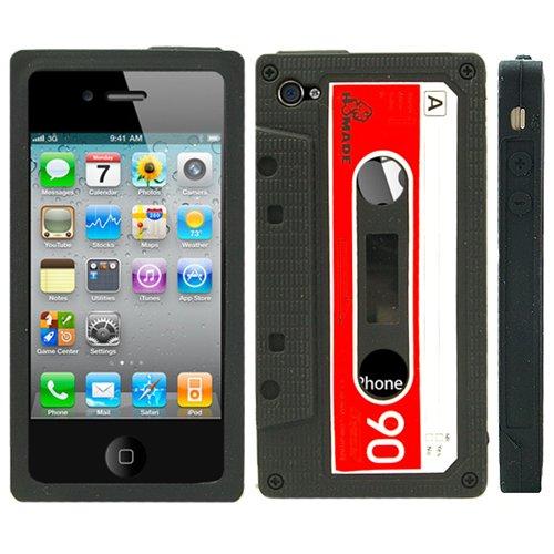 Black Retro Cassette Silicone Case For iPhone