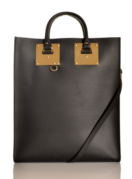 Black Structured Leather Tote