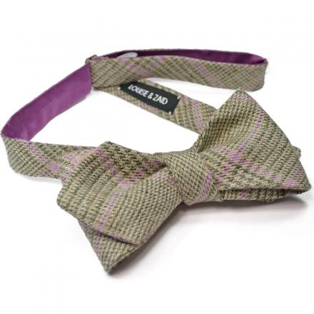 Check Linen Bow Tie