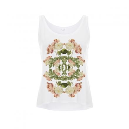 Curved Hem Flowers Vest