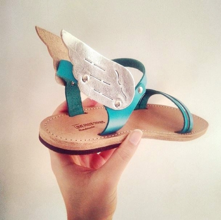 Hermes winged handmade leather sandal