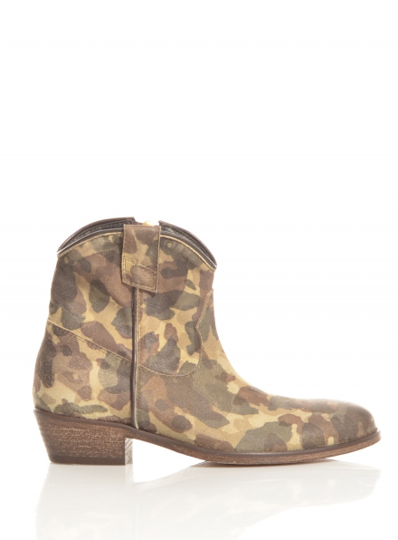 Jamie Camouflage Leather Ankle Boots