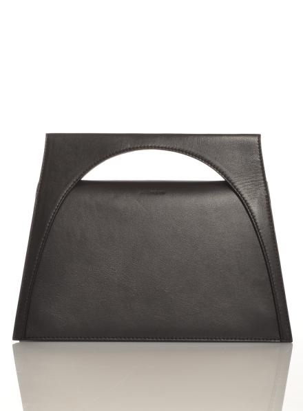 Black Leather Moon Bag