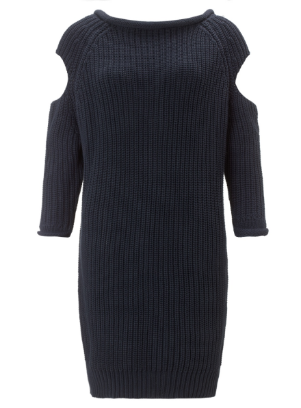Navy Cotton Knit V Back Dress