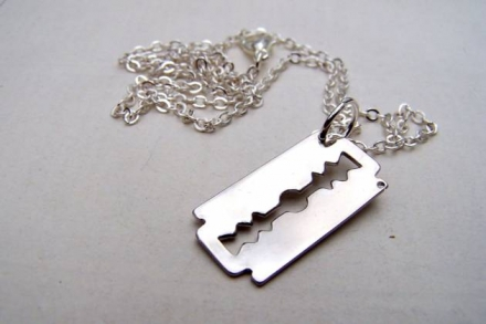 Razor Blade Necklace Mens