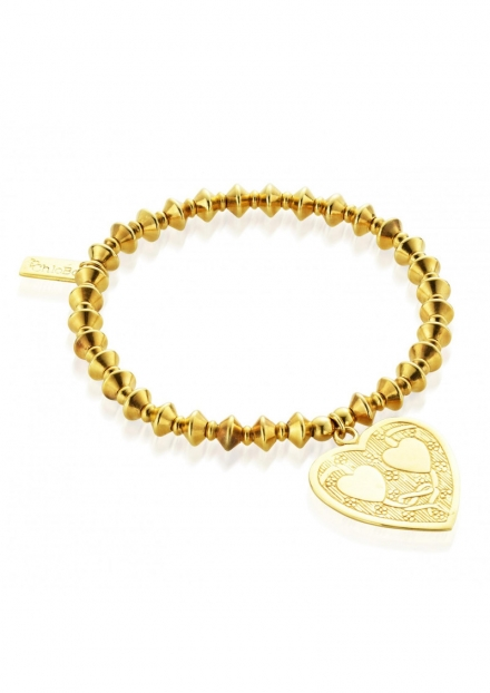 LUCKY 13 GOLD BICONE BRACELET WITH DECORATED HEART