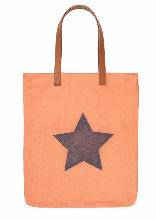H SUPERSIZE STAR TOTE BAG – DUSTY PEACH