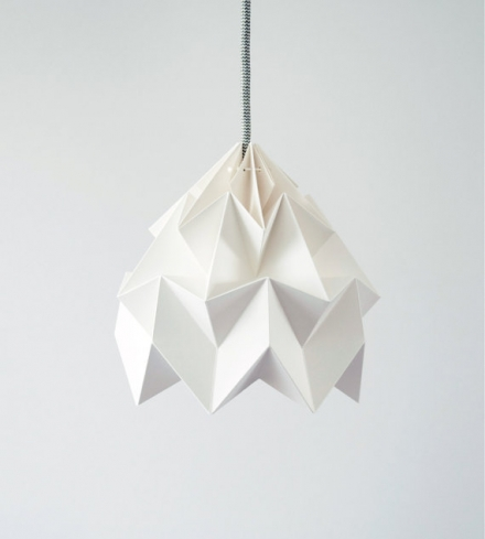 Moth origami lampshade white
