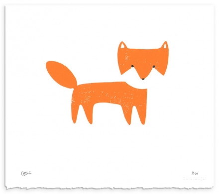 Orange Fox Woodcut Print