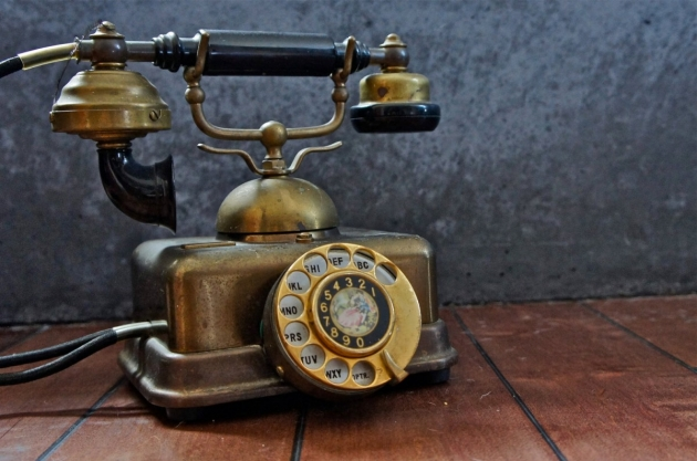 Vintage French Victorian Brass Rotary Telephone