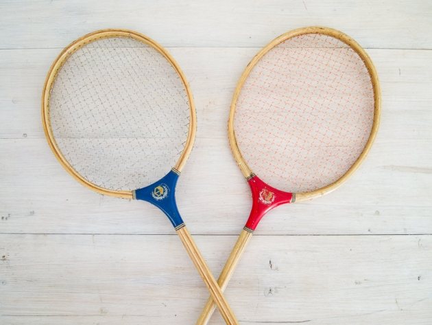 vintage wooden badminton racquets