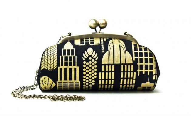 Black and Gold City Clutch Bag