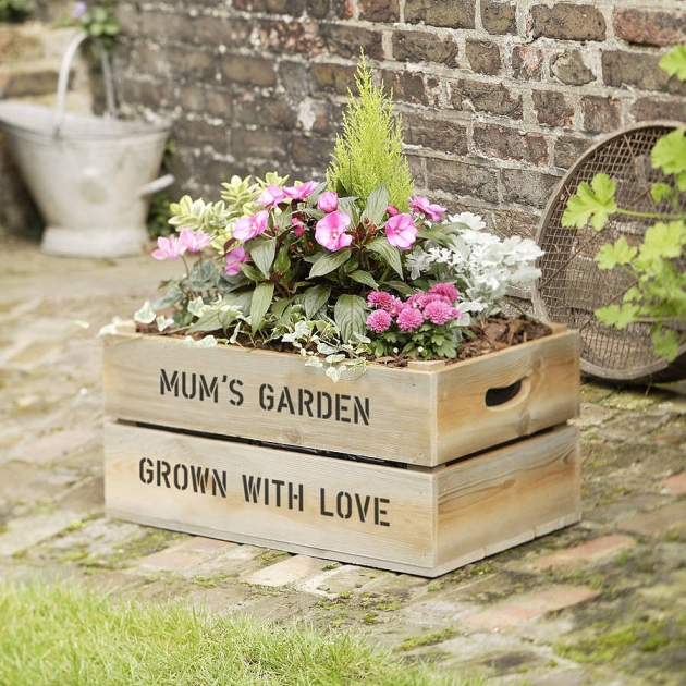 Personalised Large Wooden Crate Planter