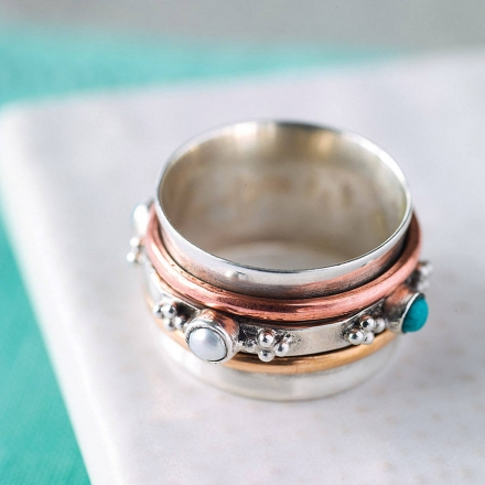 Rajput Turquoise Spinning Ring