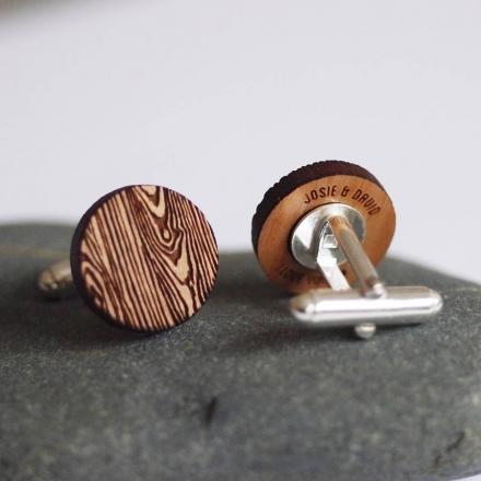 Woodgrain Secret Message Cufflinks