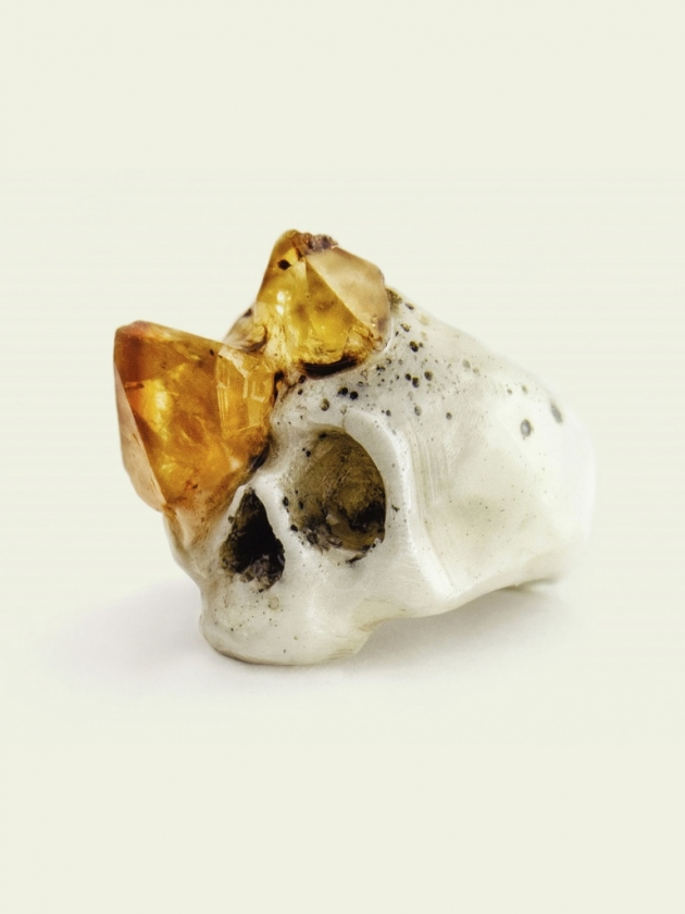 Skull with Citrine Growth Ring
