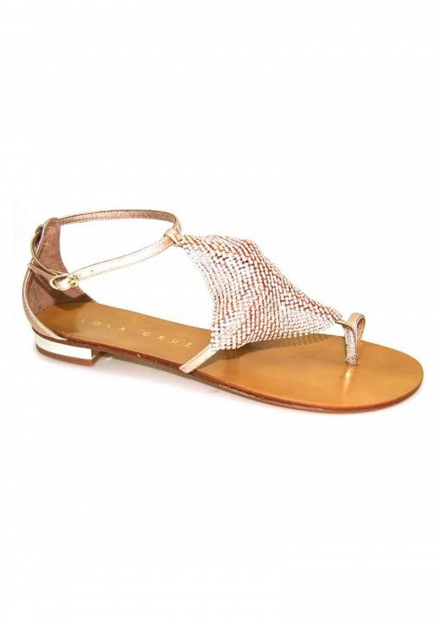 LOLA CRUZ JEWELED FLAT SANDAL