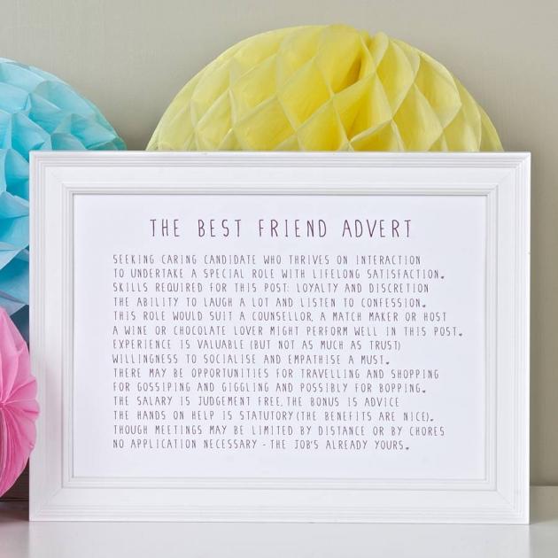 Best Friend Advert Poem Print