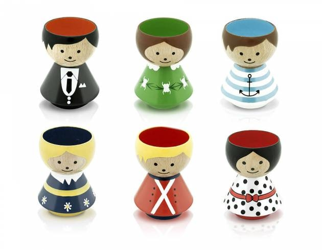Danish Hand Painted People Egg Cups