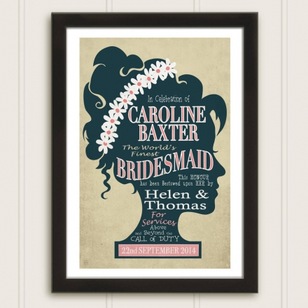 Bridesmaid Personalised Vintage Style Print