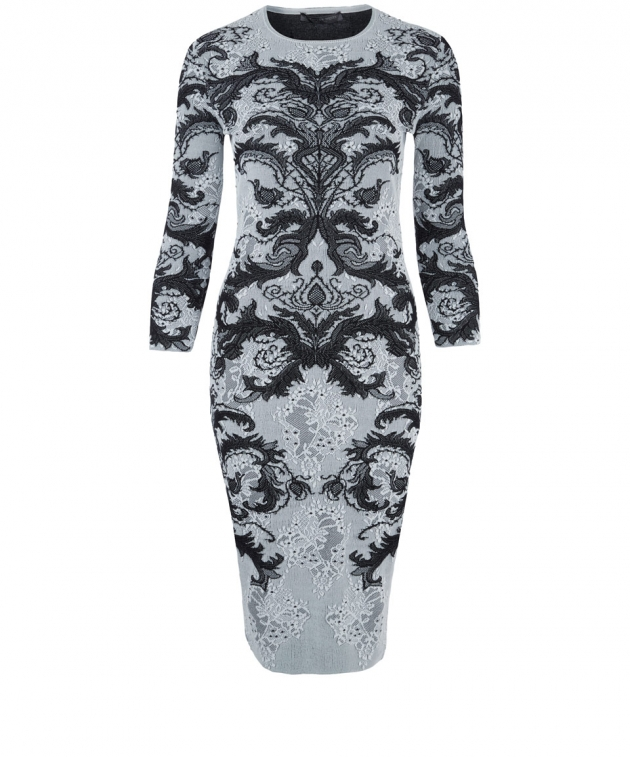 ALEXANDER MCQUEEN BLACK AND WHITE LACE JACQUARD PENCIL DRESS