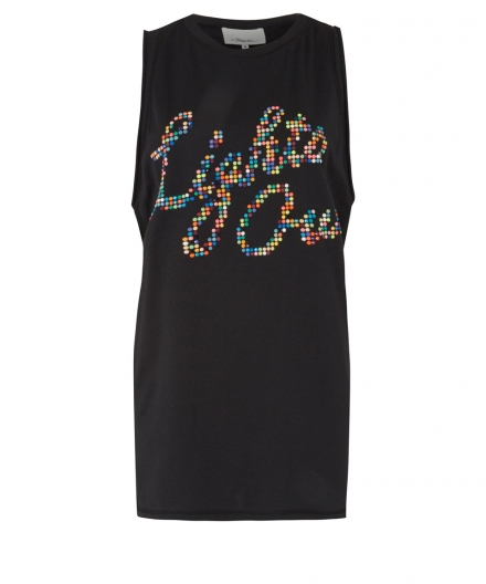 3.1 PHILLIP LIM BLACK BEADED LIGHTS OUT TANK TOP