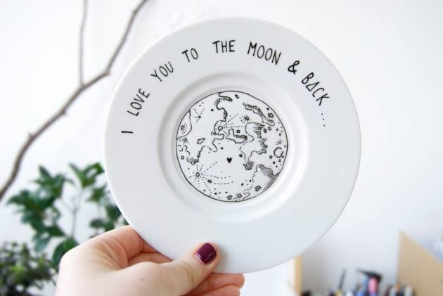 Hand Illustrated Plate – I love you to the moon and back
