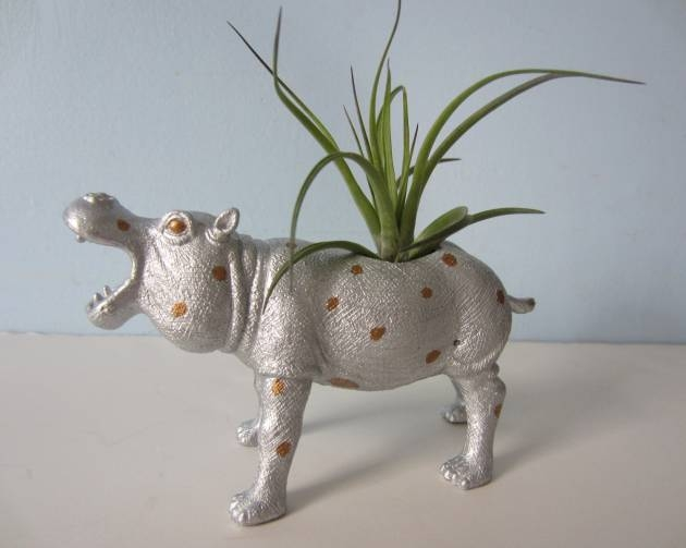 Upcycled Toy Planter – Silver and Gold Polka Dot Hippo with Air Plant