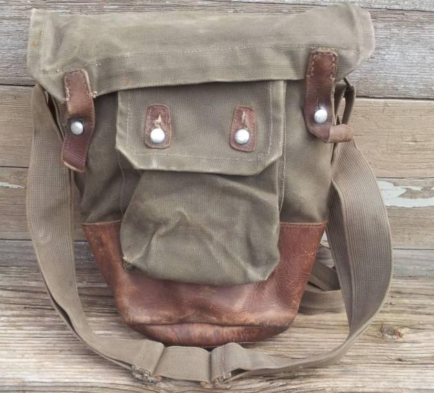 Vintage Swedish Leather and Canvas Army Surplus Vaska Shoulder Bag
