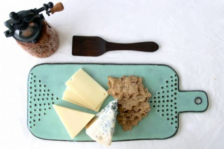 Cheese Board Tray with Geometric Dot Design