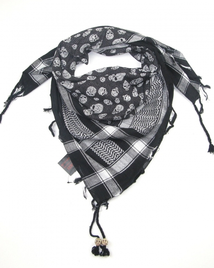Lovarzi Stylish Cotton Skull Scarf with Skull Bone Beads